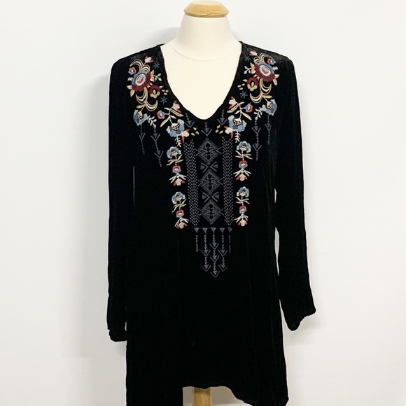 Johnny Was Tops - Johnny Was Crushed Velvet Embroidered Floral Tunic